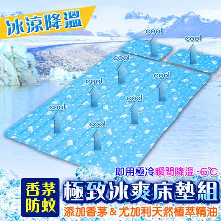 防蚊極勁冰涼 冷凝床墊1入+萬用墊 2入