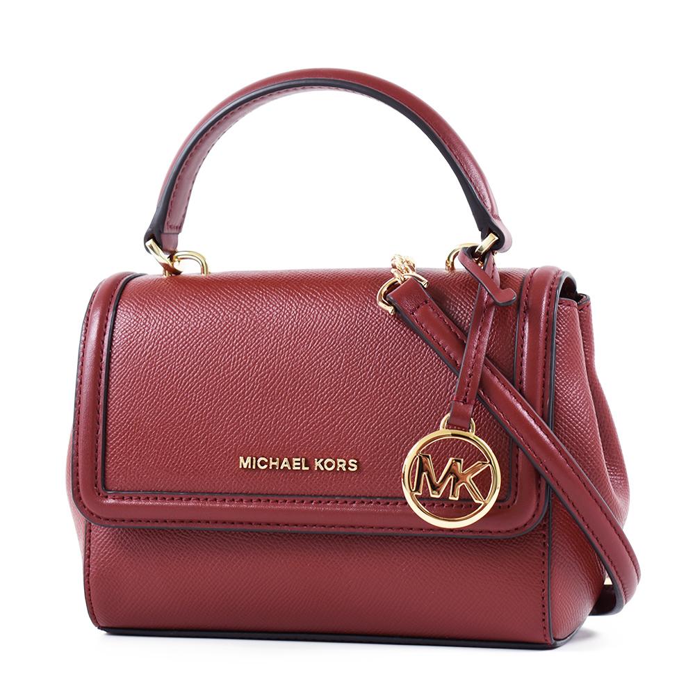 MICHAEL KORS 專櫃款 金字防刮皮革翻蓋手提/斜背二用包-紅棕/迷你款