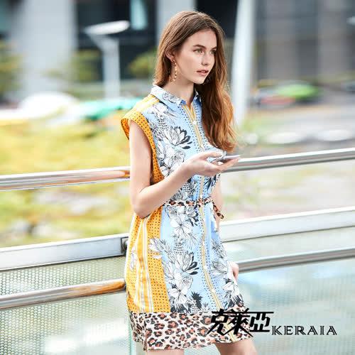 【KERAIA 克萊亞】夏日豹紋印花洋裝