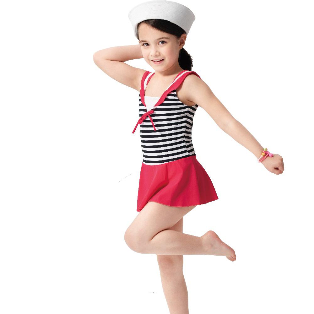 【SARBIS】女童連身裙泳裝附泳帽B882001