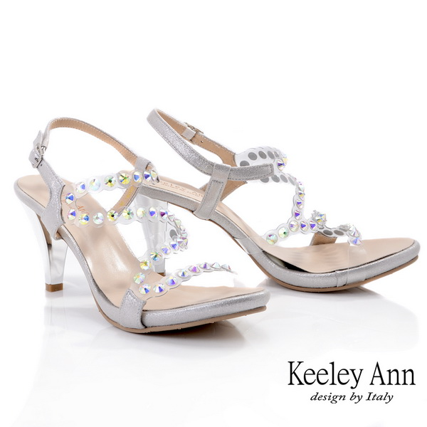 Keeley Ann時尚膠片 MIT流線修飾腳背粗跟涼鞋(銀色032008127)