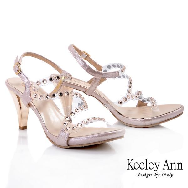 Keeley Ann時尚膠片 MIT流線修飾腳背粗跟涼鞋(粉紅色032008156)