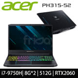 【ACER 宏碁】PH315-52-76R0(i7-9750H/RTX2060/8G+8G/512GB PCIE/144Hz/W10/FHD)