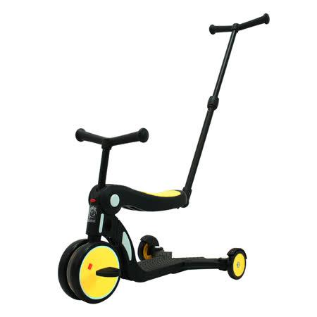 【BabyBabe】三合一平衡三輪車/滑步車/滑板車- 黃色 ( 附推把 )