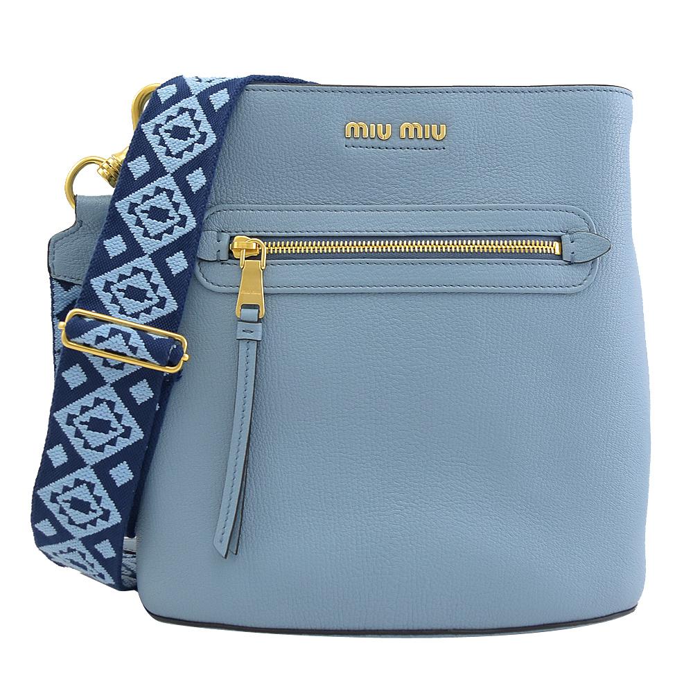 MIU MIU 經典浮雕LOGO牛皮單肩水桶包.淺藍