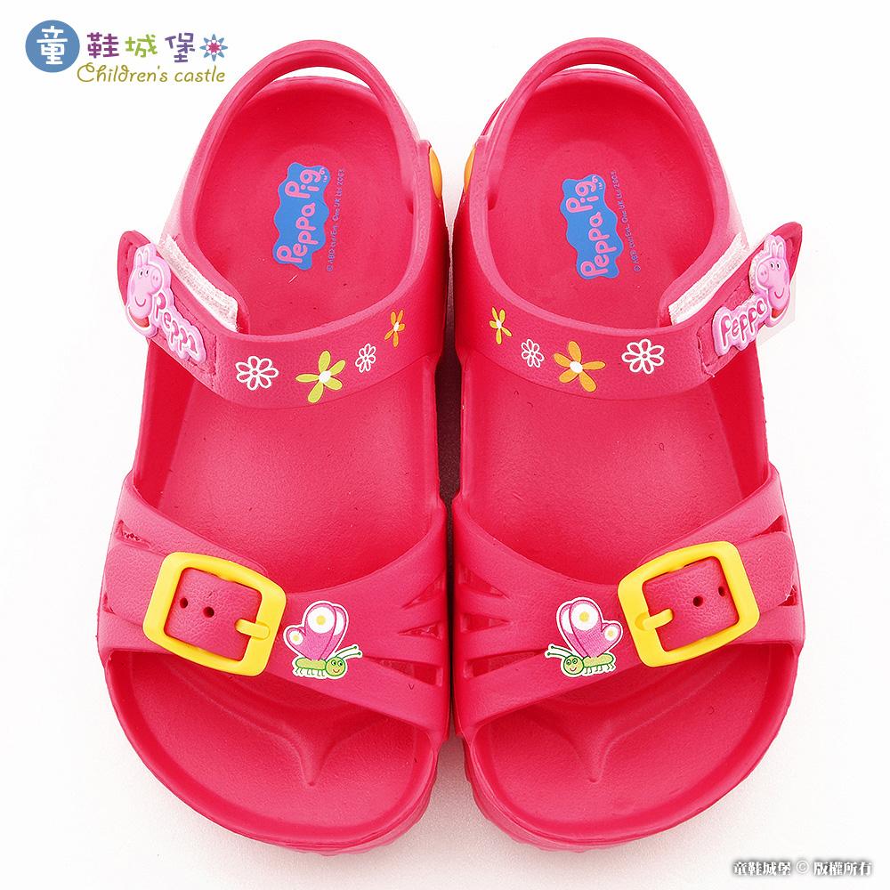 童鞋城堡-佩佩豬 蝴蝶小花 女童 輕量涼鞋PG4530-桃