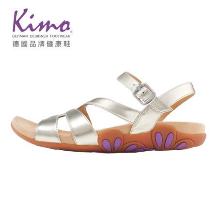 Kimo德國品牌健康鞋 花朵止滑鞋底繫帶涼鞋