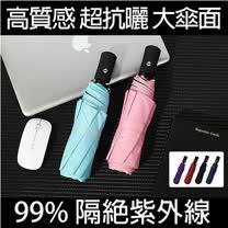 KISSDIAMOND 超輕量自動開收抗UV黑膠UPF50+晴雨傘 (天藍/粉色/黑色/深藍/酒紅/紫色)