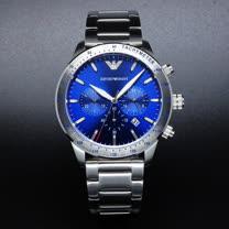 ARMANI 優質風範三眼計時個性鋼帶腕錶-藍+銀-AR11306