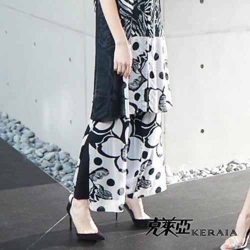 【KERAIA 克萊亞】抽象空間純絲飄逸寬版長褲