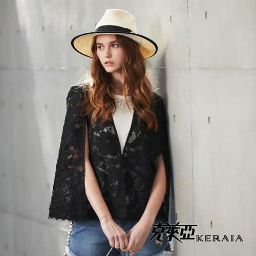 【KERAIA 克萊亞】俐落簍空花蕾絲亮片外套