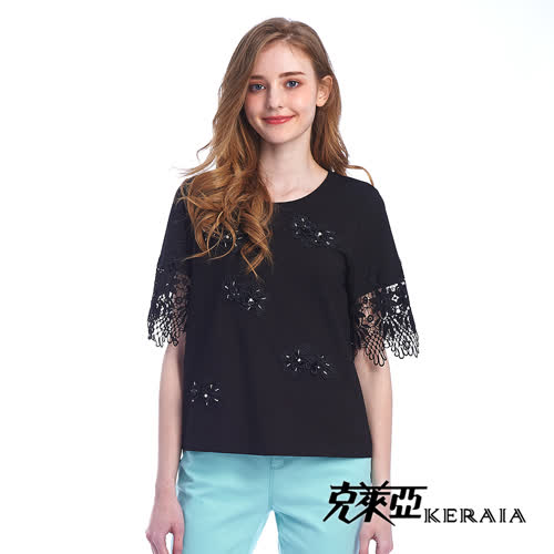【KERAIA 克萊亞】煙花水月蕾絲袖花片棉T上衣