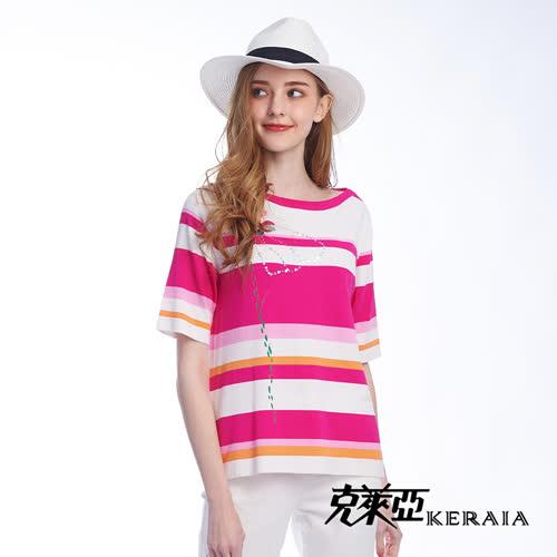 【KERAIA 克萊亞】幻影花蝶鑽飾配條上衣