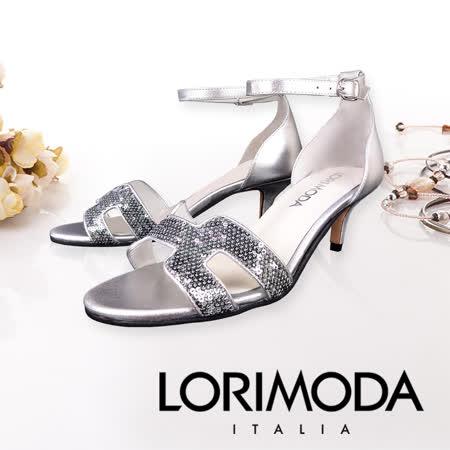 LORIMODA 繫帶繞踝細低跟涼鞋