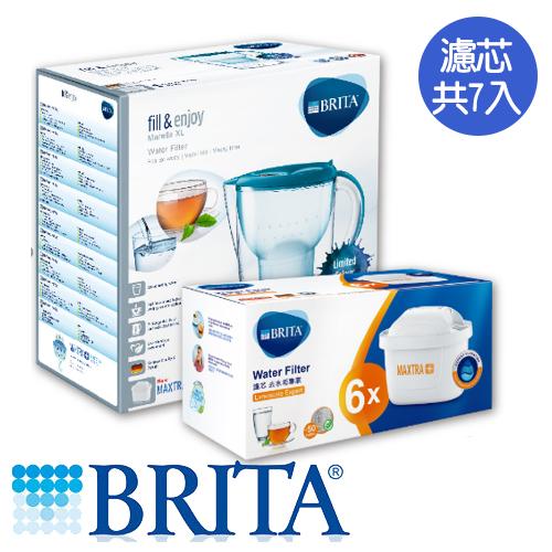 德國BRITA 馬利拉3.5L花漾壺藍-去水垢專家(1壺7芯)