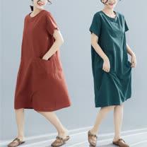 【Maya 名媛】M~2XL純色素雅條紋款短袖洋裝-2色