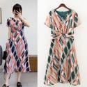【韓系女衫】XL~4XL雪紡復古夏季彩艷連衣裙洋裝/2色