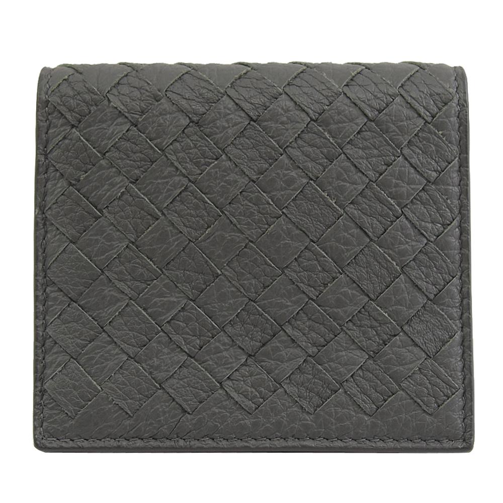 BOTTEGA VENETA  編織小羊皮扣式名片夾.灰