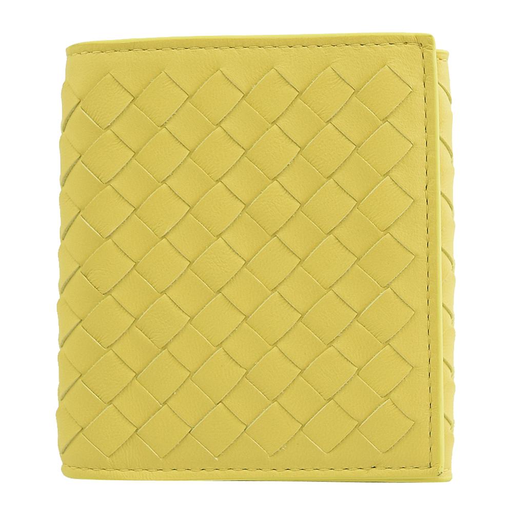 BOTTEGA VENETA  編織羊皮扣式零錢短夾.鵝黃