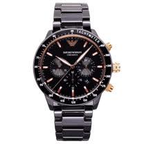 ARMANI 爵士舞步時尚優質陶瓷腕錶-玫塊金+黑陶瓷-AR70002