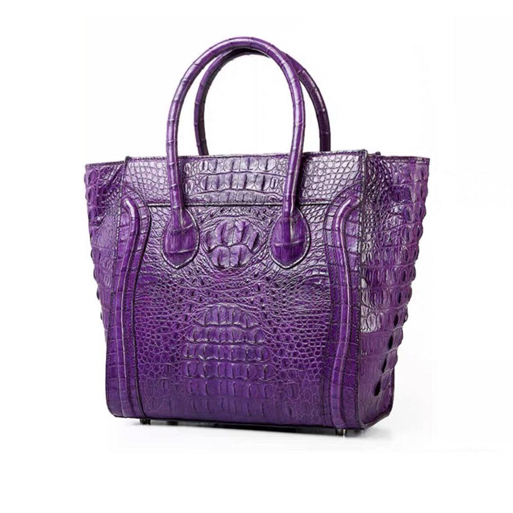 Genny Iervolino復古笑臉包鱷魚皮手提包(紫色)