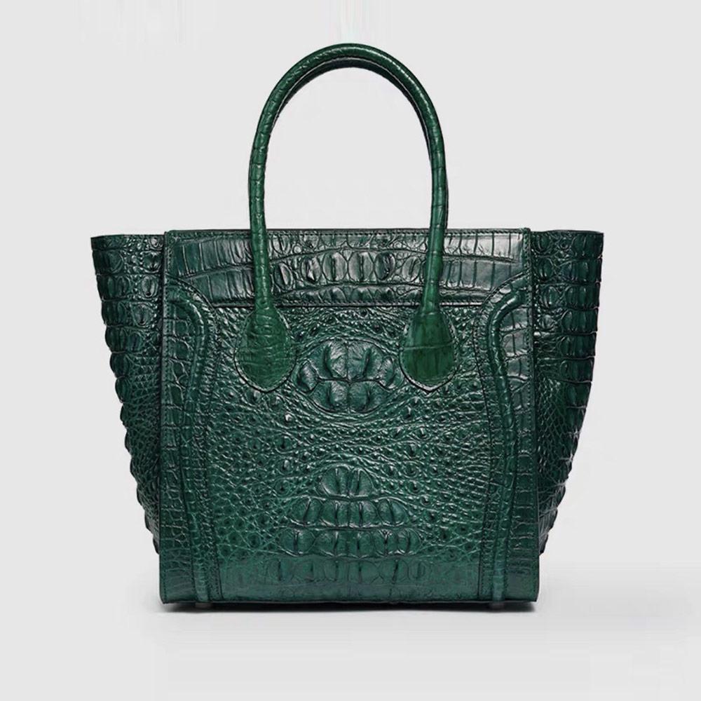 Genny Iervolino復古笑臉包鱷魚皮手提包(綠色)