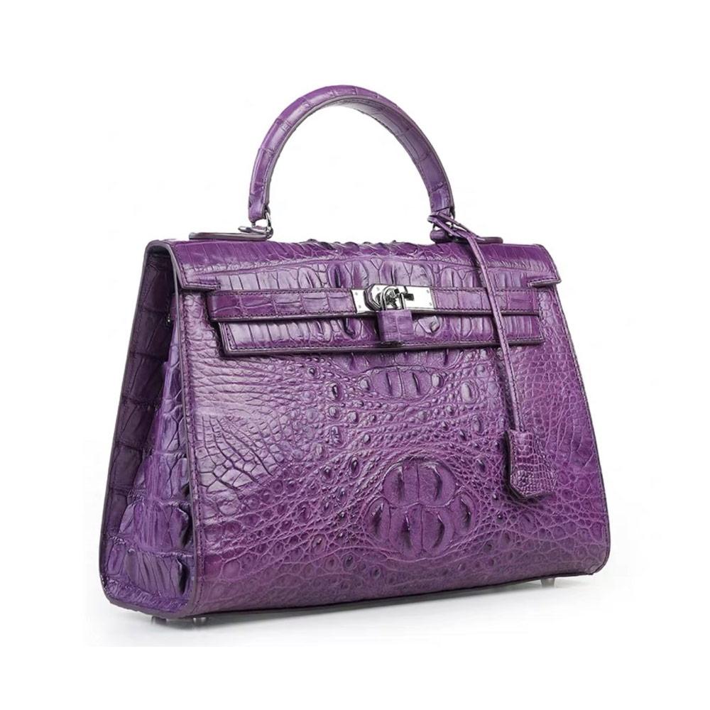 Genny Iervolino凱莉包款鱷魚皮鎖扣鉑金包(紫色)