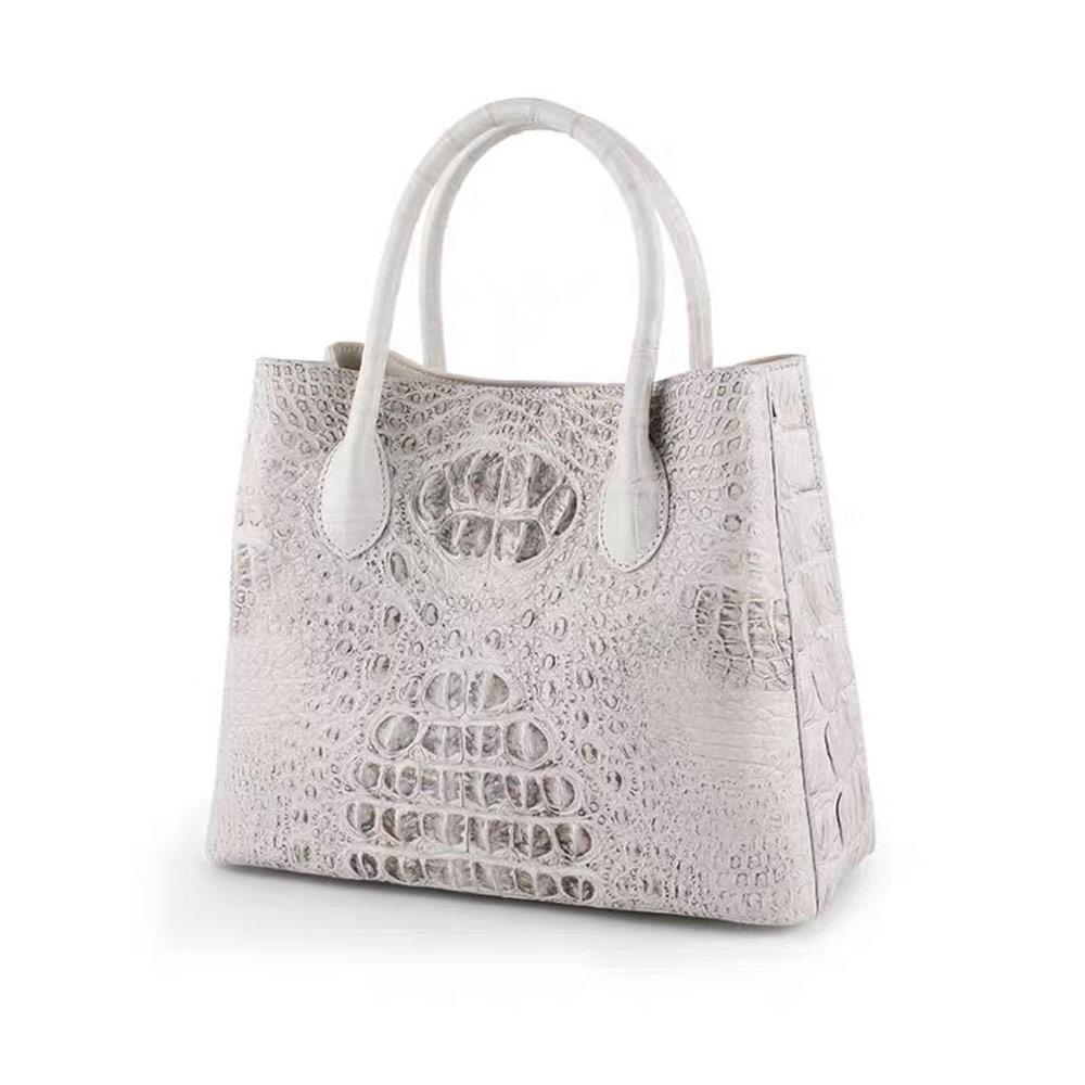 Genny Iervolino時尚簡約氣質款鱷魚皮手提包(白色)