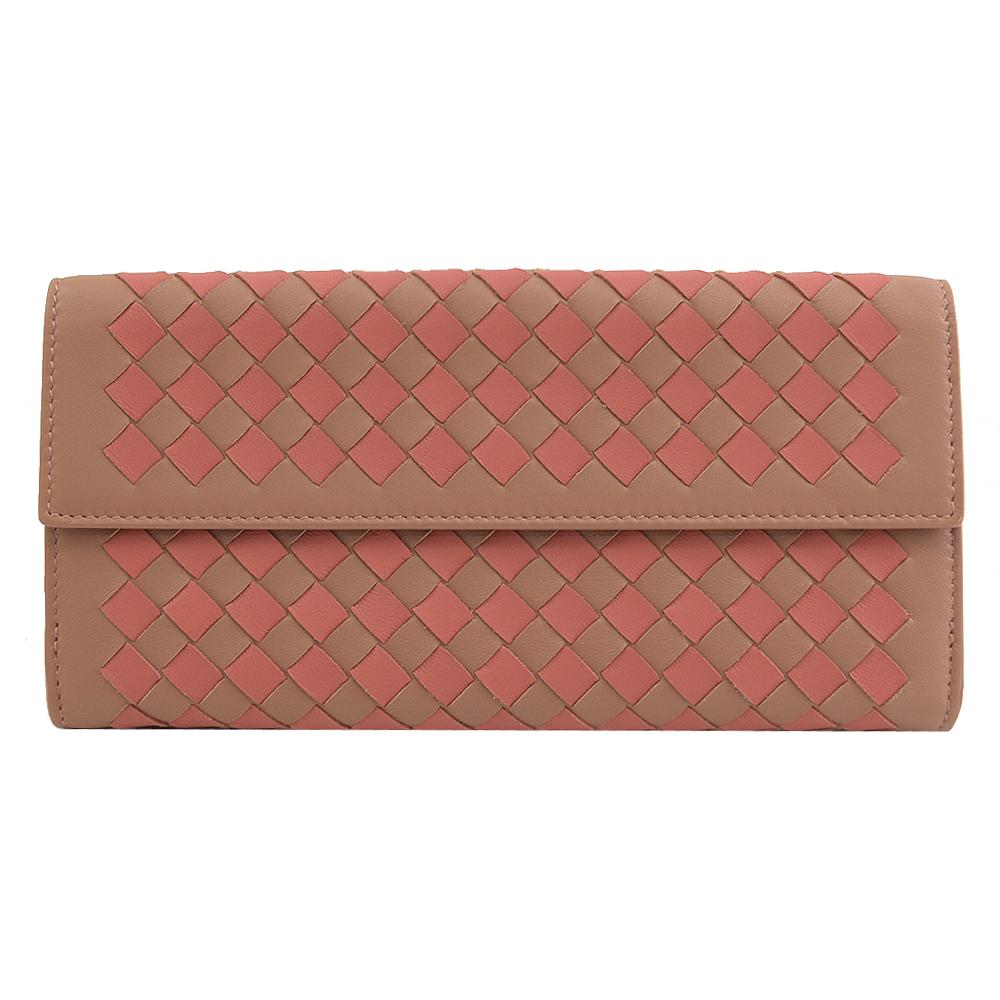 BOTTEGA VENETA 手工編織雙色羊皮扣式長夾.粉橘