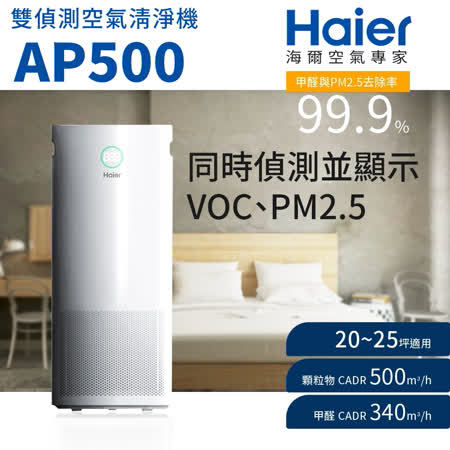 【Haier 海爾】雙偵測 空氣清淨機 AP500
