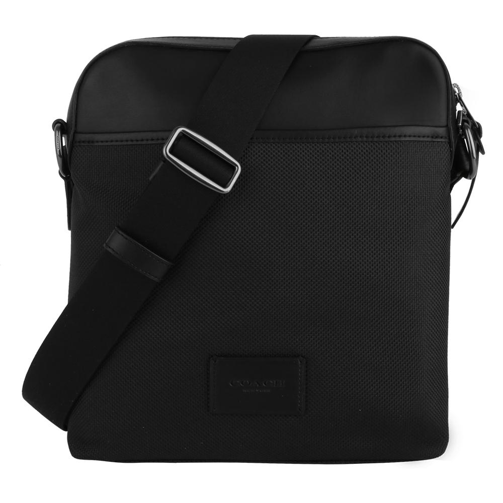 COACH - 皮標LOGO帆布拼皮革拉鍊直式斜背包(黑)