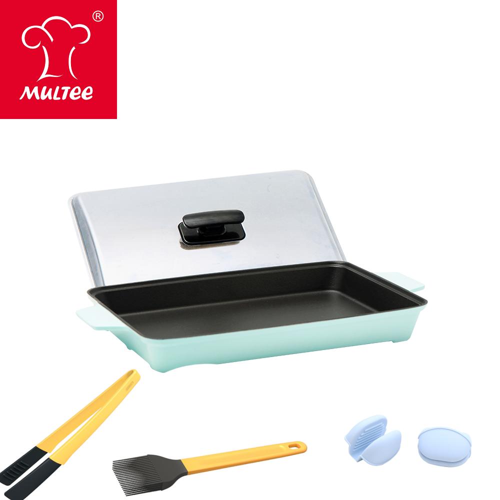 【MULTEE摩堤】A4鑄鐵平烤盤_晶鑽藍+料理夾-鵝黃+醬料刷-鵝黃