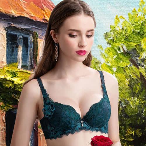 莎露 暗戀維納斯 D-E罩杯內衣(海草綠) 珍珠光感刺繡蕾絲 成型減壓鋼圈帶 集中托高 SB4434N6