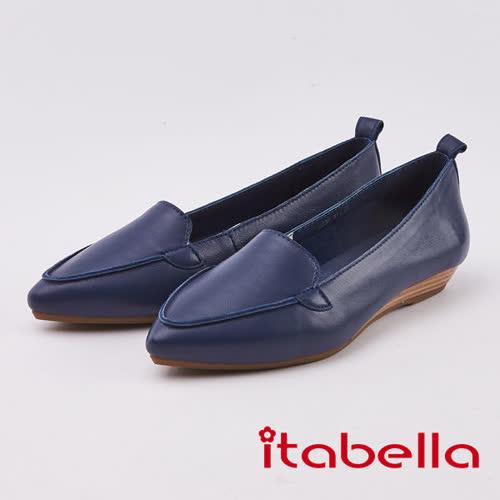 itabella.素面羊皮尖頭包鞋(0236-51藍色)