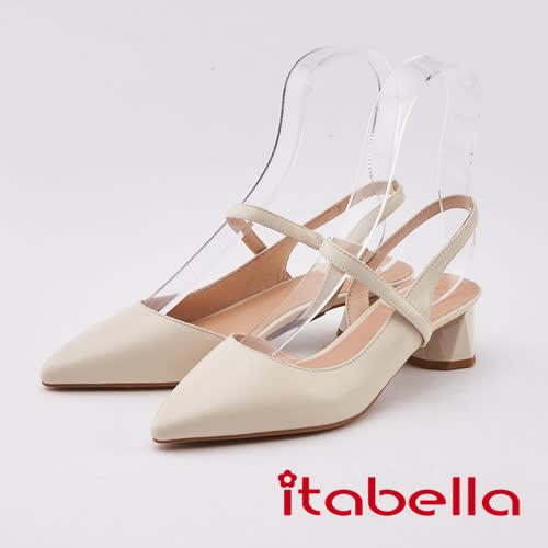 itabella.小羊皮尖頭粗跟涼鞋(0309-01米色)