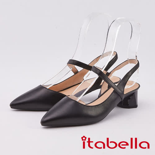 itabella.小羊皮尖頭粗跟涼鞋(0309-91黑色)