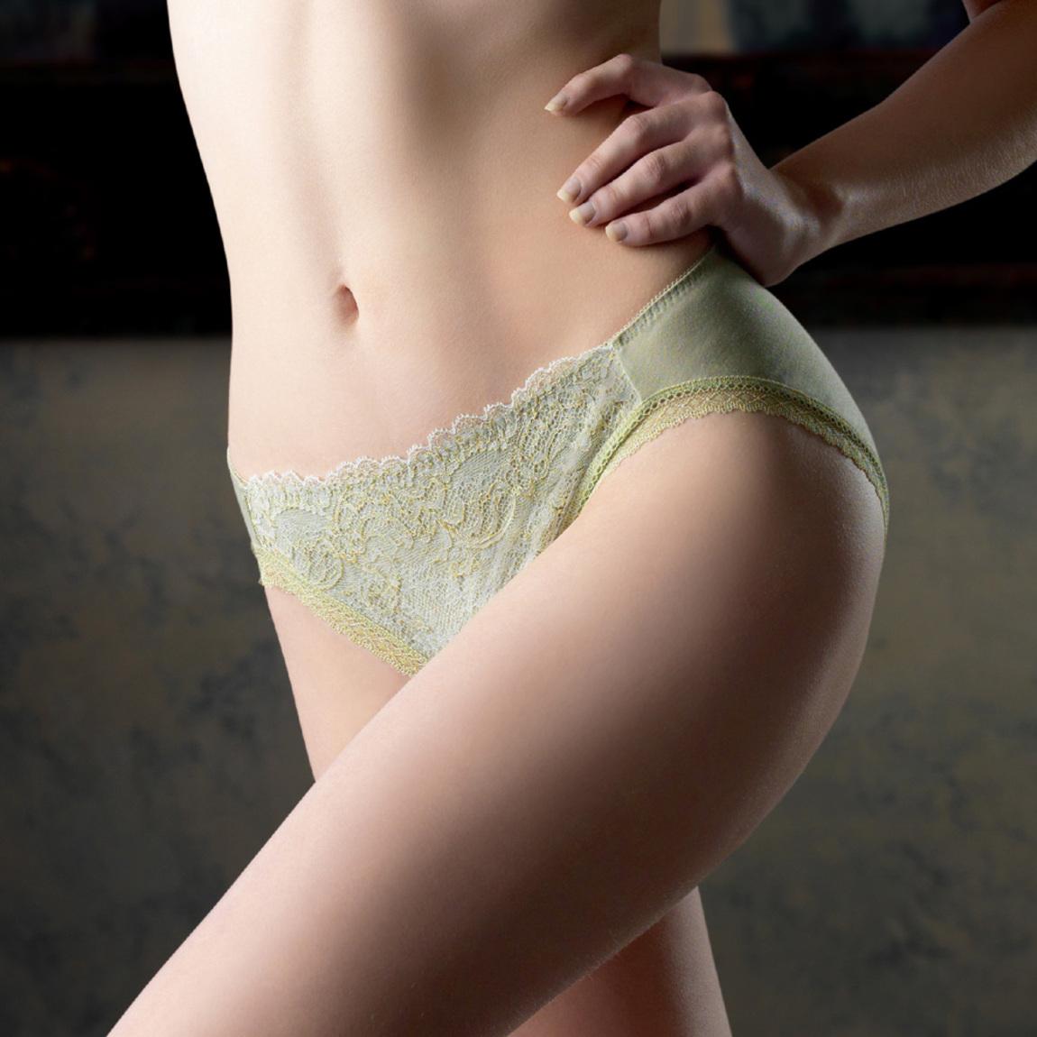 【Lofan 露蒂芬】  常春藤 法式蕾絲性感內褲 無痕褲 三角褲 中腰-綠(CS1723-GRN)