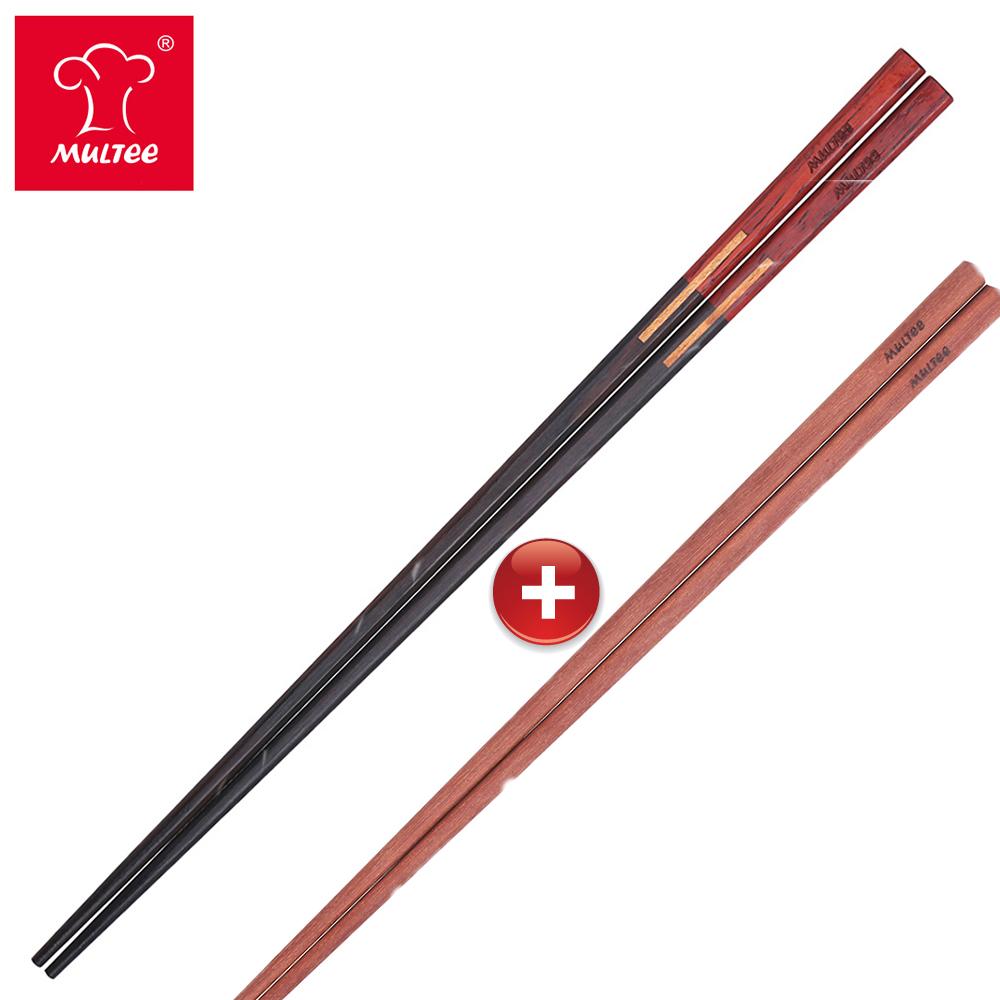 【MULTEE摩堤】34cm雙色檀木料理筷(黑紫)+34cm鐵線子料理筷-咖啡