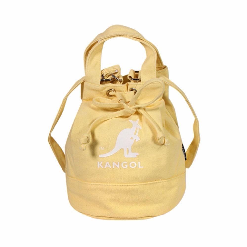KANGOL 包 兩用尼龍水桶手提包 側背包 鵝黃 淺黃 袋鼠包 - 6925300761
