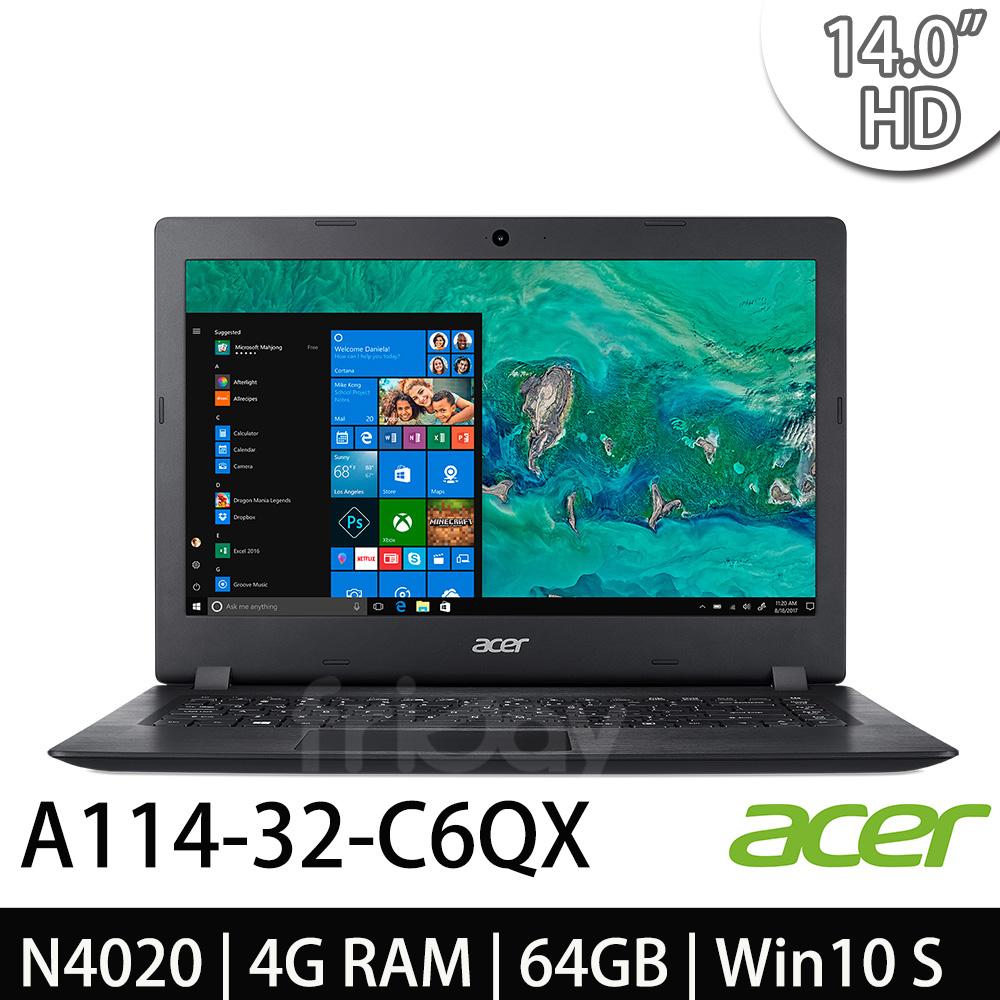 Acer A114-32-C6QX 14吋HD/ N4020/ Win10 S 黑色筆電 -加碼送微軟無線行動滑鼠(隨機出貨)