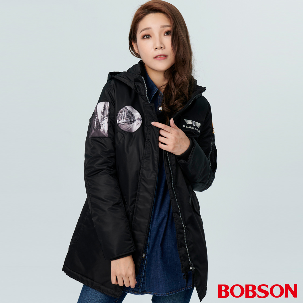 BOBSON 女款長版鋪棉外套 (38106-88)