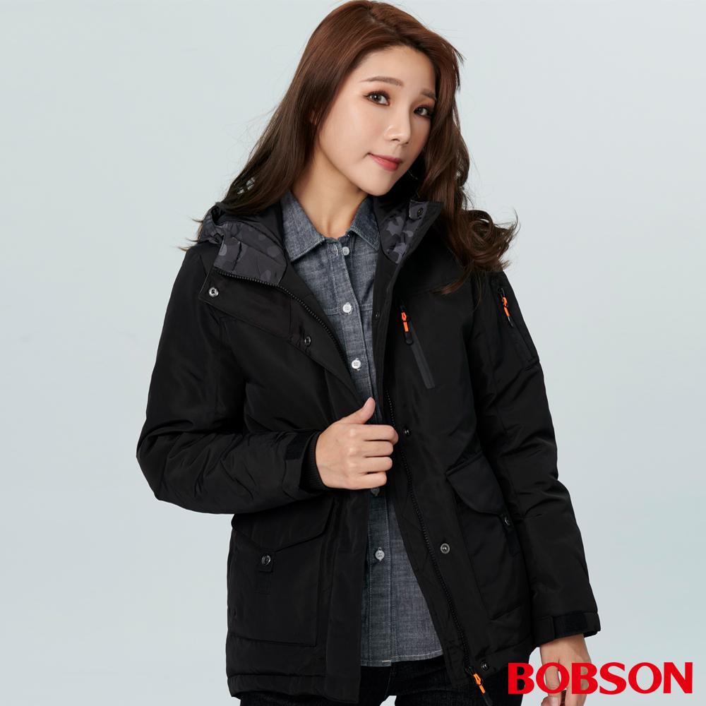 BOBSON 女款連帽中長版絲棉外套 (38107-88   )
