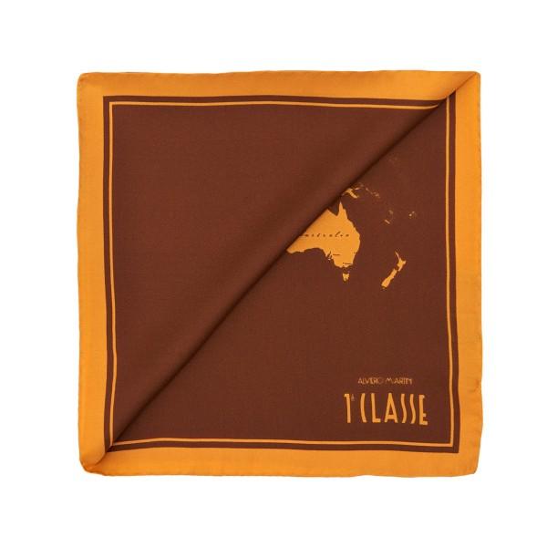 Alviero Martini 義大利地圖包 經典地圖撞色絲巾(50X50)-棕色