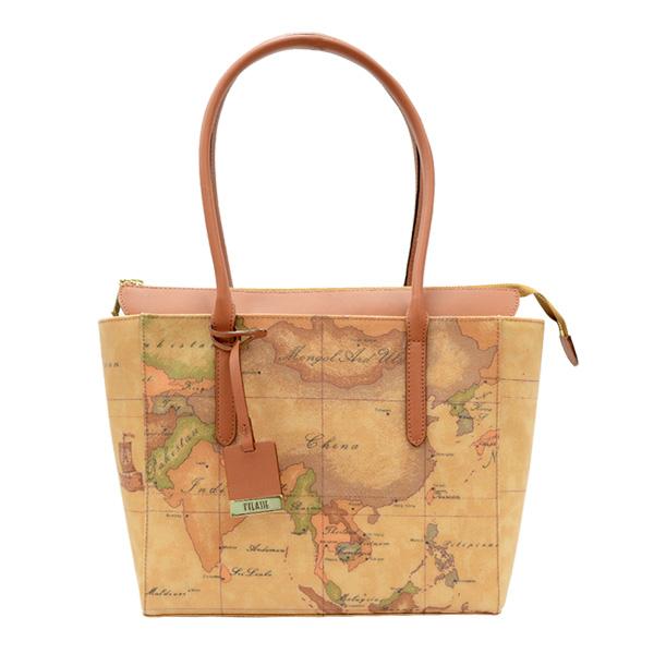 Alviero Martini 義大利地圖包 手提雙把 拉鍊 手肩包(中)-地圖黃