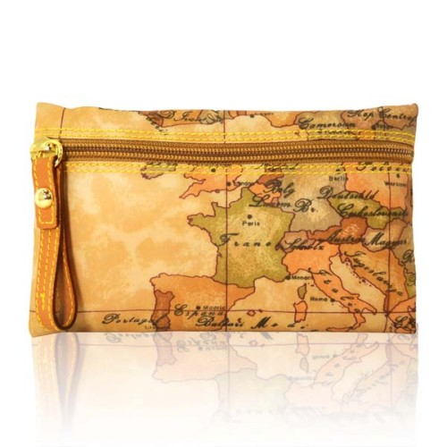 Alviero Martini 義大利地圖包 尼龍拉鍊收納化妝包-地圖黃/小