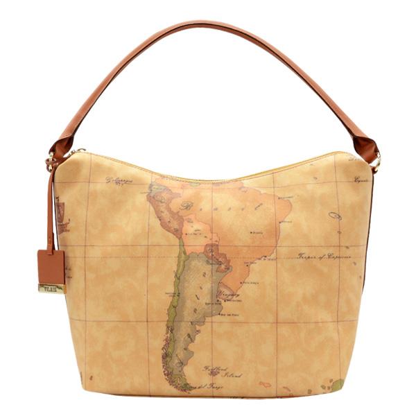 Alviero Martini 義大利地圖包 單把弧形肩背包(大)-地圖黃
