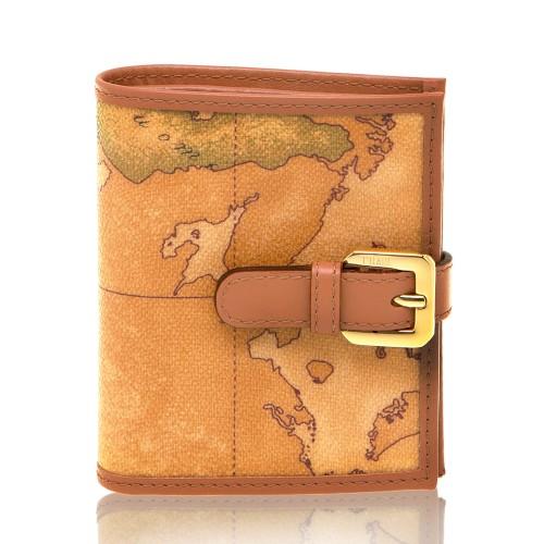 Alviero Martini 義大利地圖包 扣式4卡零錢袋短夾-地圖黃