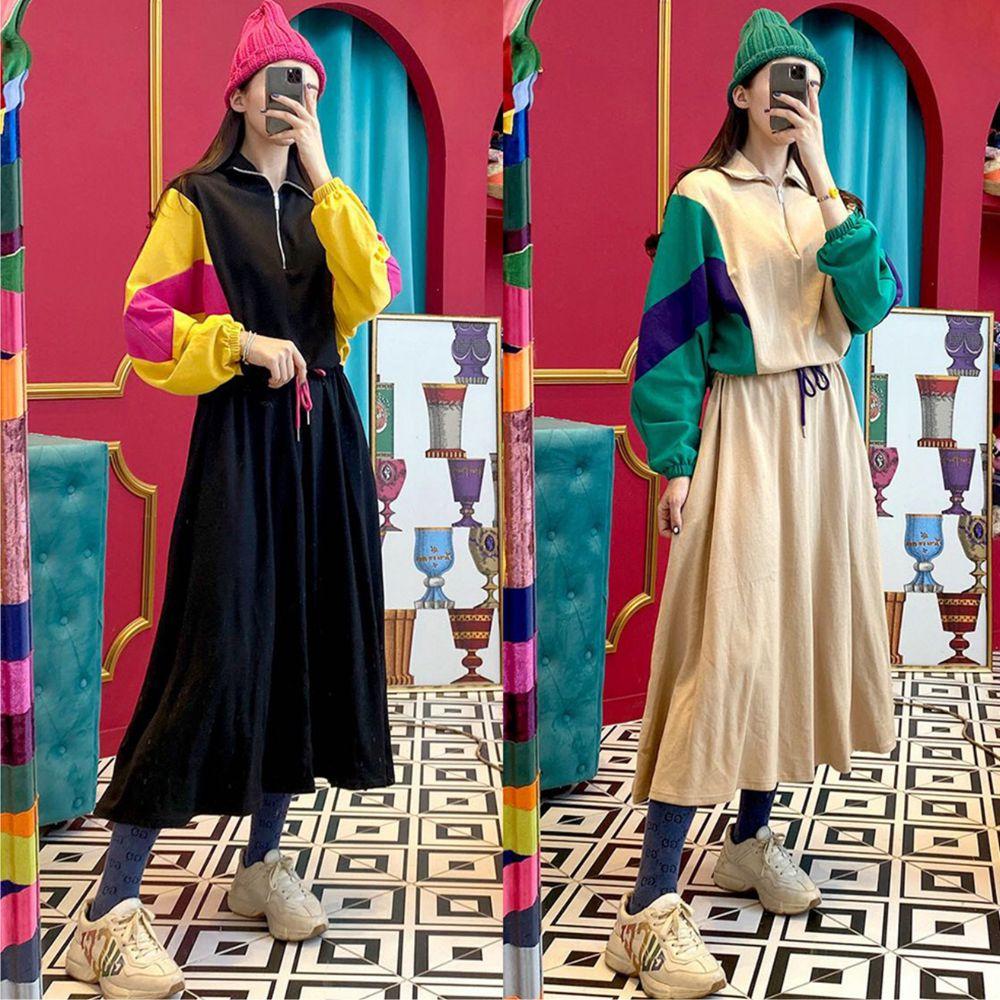 【韓系女衫】運動風長袖拼色連衣洋裝-2色
