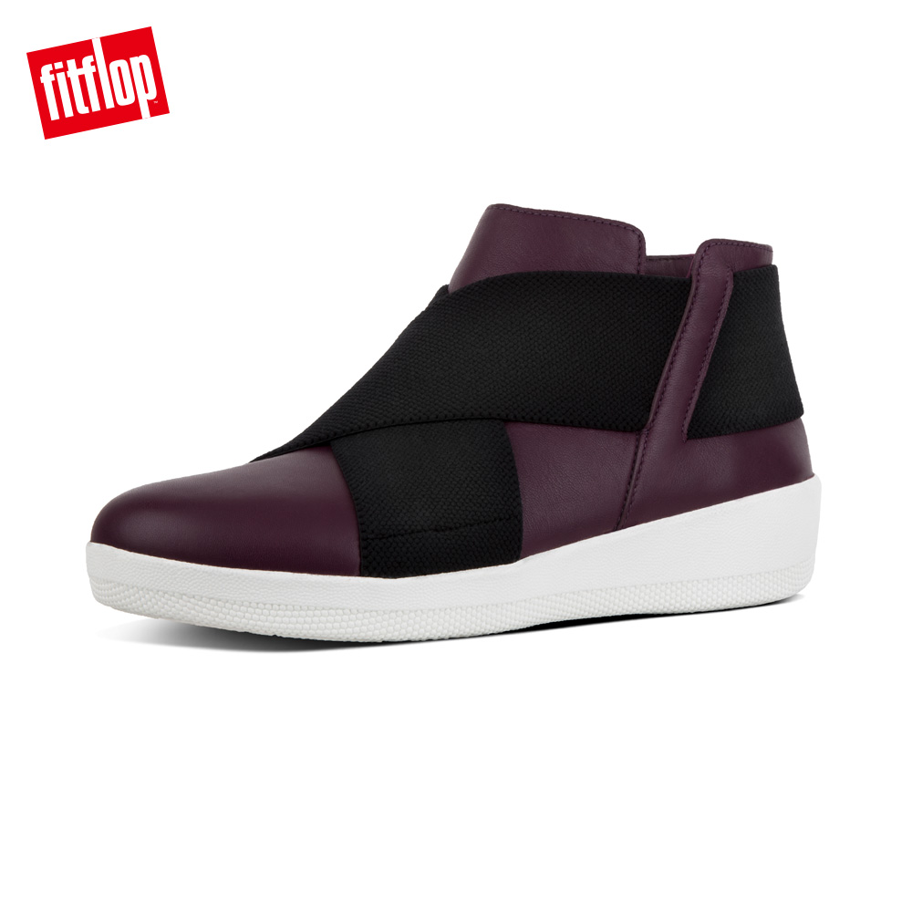 【FitFlop】SUPERFLEX LEATHER ANKLE BOOTS FF2系列輕量短靴-女 深梅色