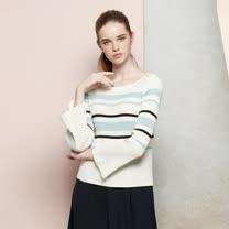 AZUR時尚女伶經典條紋印花針織衫-水藍